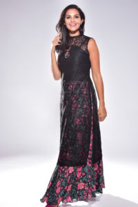 Priya Floral Long Dress with Net Top