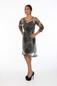 Chavi Black Net Dress