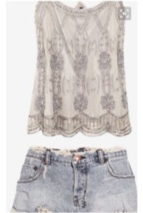 beaded top with jeans