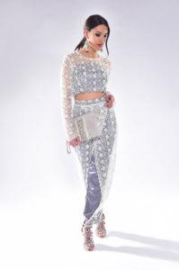 Lace Crop Top Trousers Suit