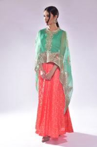 Long Silk Dress with Cape