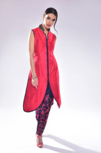 Red Jacket Style Silk Suit