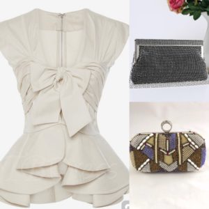 Ruffled bluse & clutch
